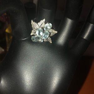 Sterling silver 925 genuine aquamarine ring
